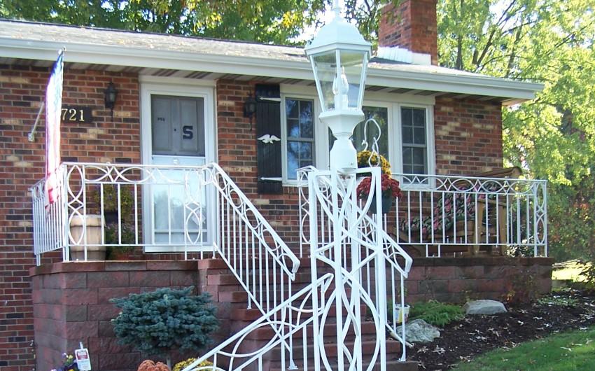 White Railing and Lamp Post
