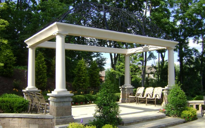 Pergola with White Pillars
